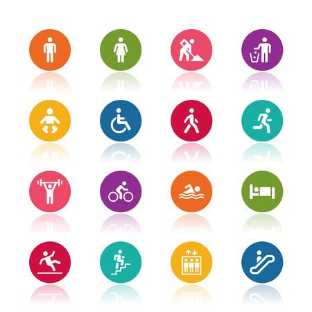 medios de transporte: Iconos de personas Vectores