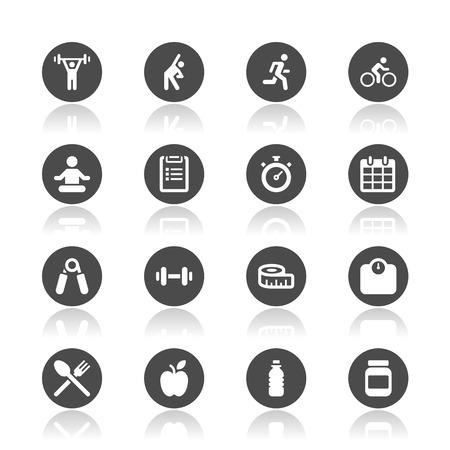 Iconos de la aptitud Foto de archivo - 43677148