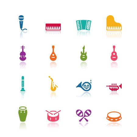 instrumentos musicales: Instrumentos musicales iconos Vectores
