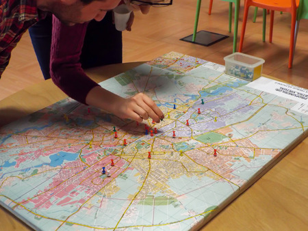 marking: Pushpin marking a location on a road map