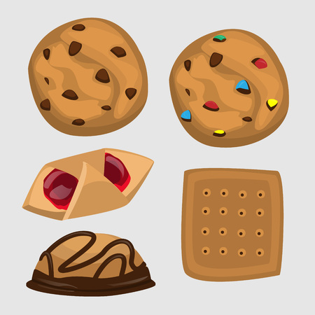 fortune cookie: different cookies with chocolate and jam Illustration