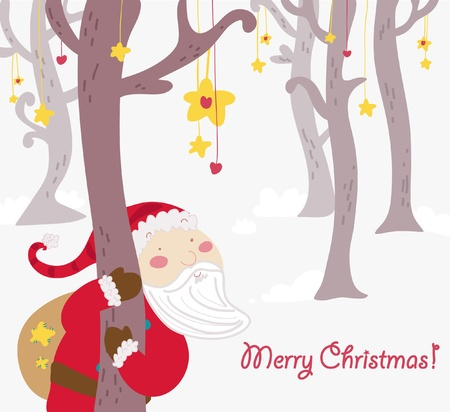 Cartoon smiling Santa Claus in a fantasy forest. Vector