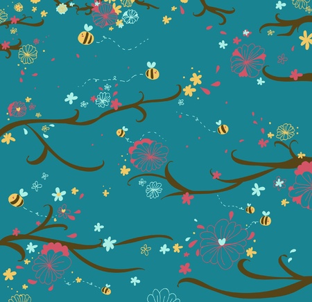 Blossom wood and bees seamless fancy Illustration