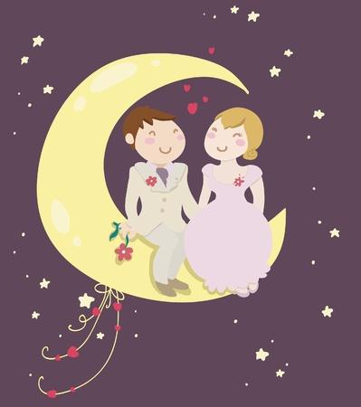 honeymoon: Funny honeymoon of just married couple. Illustration