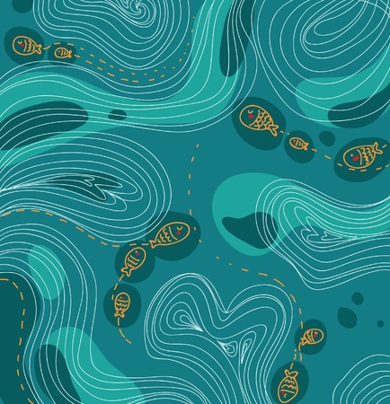 Fishes and sea seamles fancy Vector