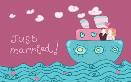 cruising: Cartoon love boat with a just married couple.