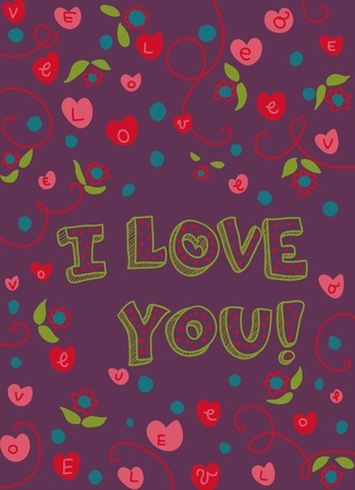 Romantic decorated card with text. Vector