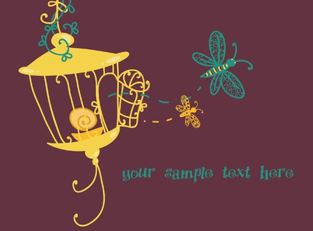 A decorative lantern and two dragonflies Vector