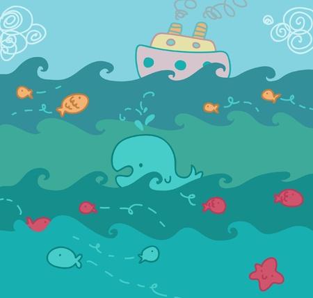 cruising: Vita sopra e sotto il mare Vettoriali