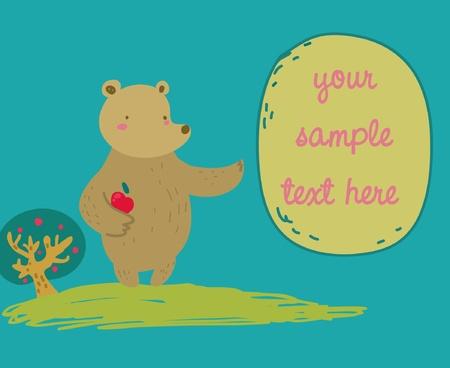 Funny cartoon bear shows a message balloon. Stock Vector - 9382048