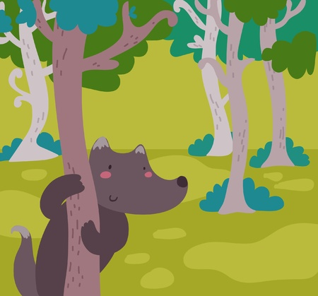 Cartoon wolf in the wood.