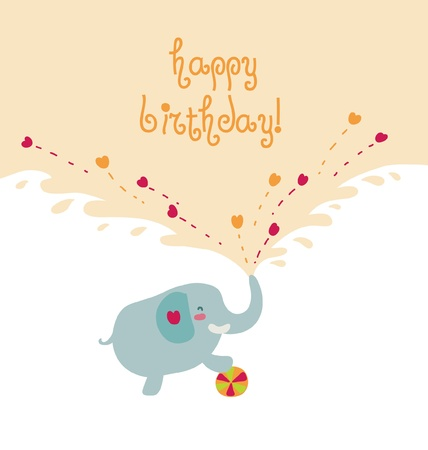 Happy cartoon elephant card.  Illustration