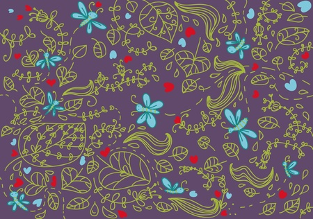Garden artistic seamless fancy, leaves dragonflies and flower Vector