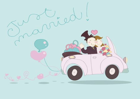 An happy just married couple driving funny car.