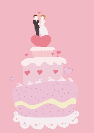 Wedding cake and couple on pink background.  Vector