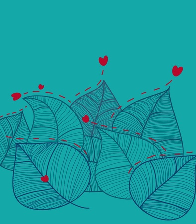 Decoration leaves and hearts. Illustration