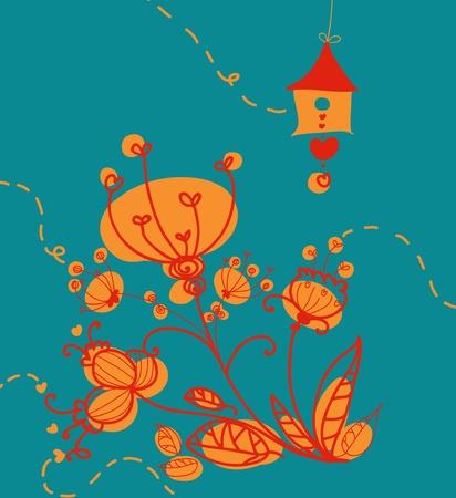 Fleurs et composition de style rétro oiseaux house.
