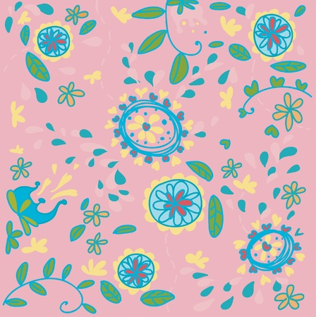 A floral pattern on pink background.