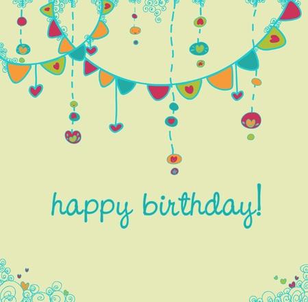 invito compleanno: Tessera di partito colorato di buon compleanno.  Vettoriali