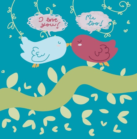 Two little birds in love. Vector