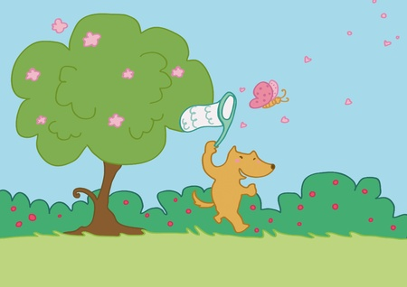 An happy fox tries to catch a butterfly.  Illustration