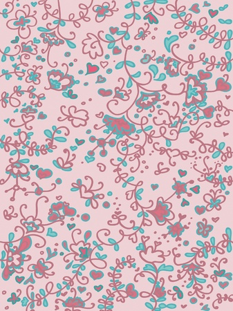 Floral seamless fancy, hearts flowers leaves and butterflies. Illustration