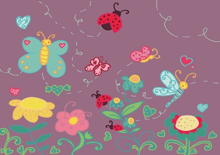 A funny garden with flowers and insects.  Vector
