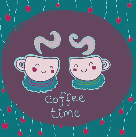 meet: happy coffee time Illustration