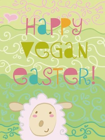happy vegan easter card Stock Vector - 9392142