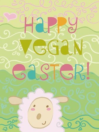 pasen schaap: happy vegan easter card