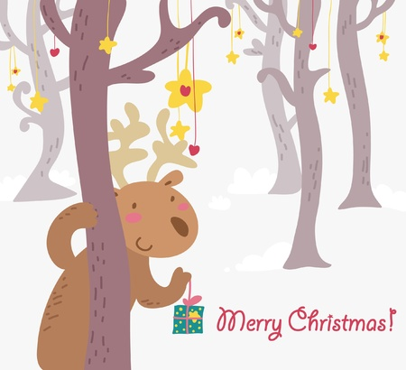 funny Christmas card reindeer Vector