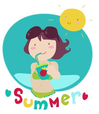 Cute cartoon girl have a fruity drink on the beach.