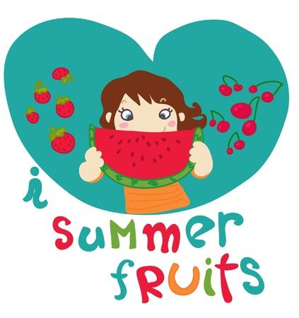 I love summer fruits Vector