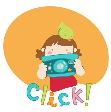 taking photograph: Cartoon girl takes a picture