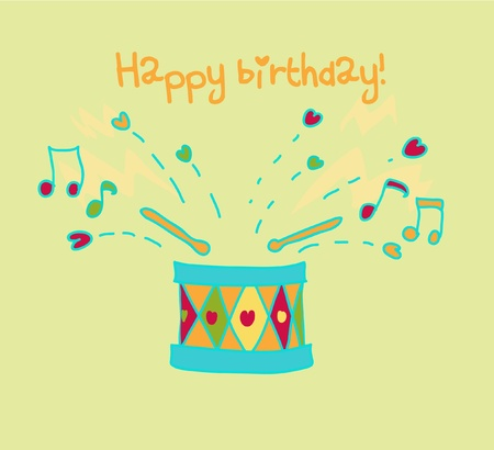 Colorful drum happy birthday card. Vector