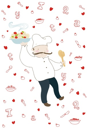 A funny smiling italian cook on decorated background