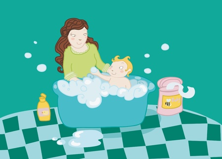 A baby take a bath with his mother