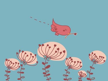 little bird: pajarito vuela en un campo en flor