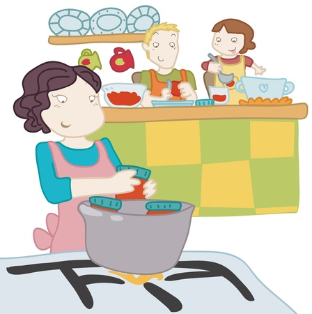 A girl cooks with her parents.  Illustration