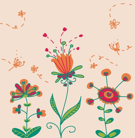 funny flowers in bloom Illustration