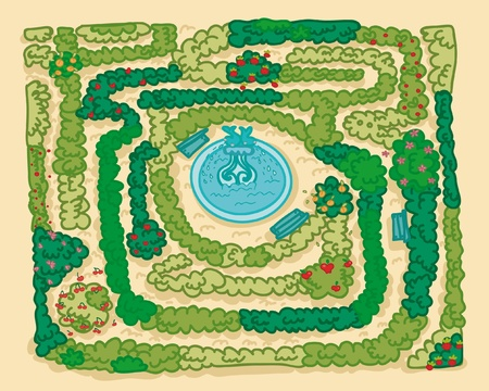 A labyrinth garden, with a fountain in the middle.