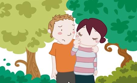 Una ragazza triste con un amico o un fidanzato in un parco