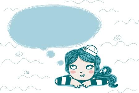 marinero: chica de marinero de pensamiento con globo vac�o