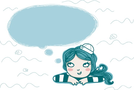 thinking sailor girl with empty balloon Vector