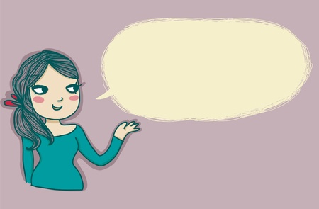 speaking girl with empty balloon Vector