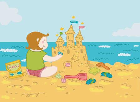piasek: Uśmiechnięta dziewczyna gra na plaży