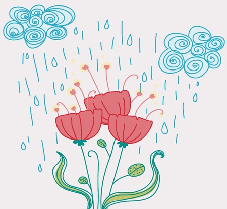 three pink flowers under the rain Stock Vector - 9480250