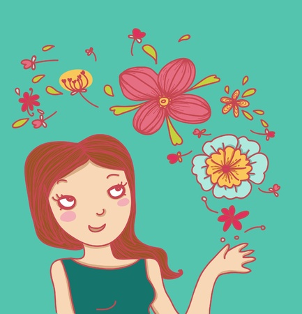smiling woman and flowers Illustration