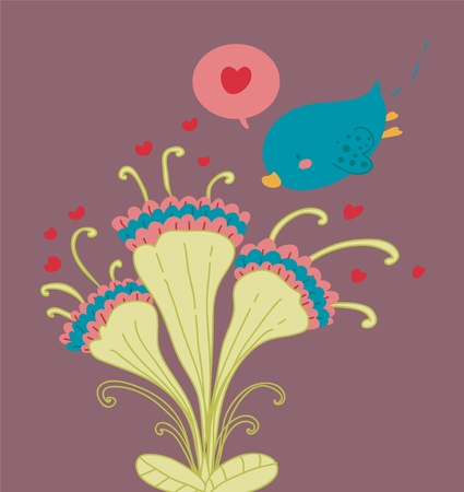 Loving bird and funny flowers romantic card.