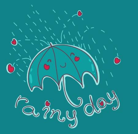 happy umbrella under an  Vector